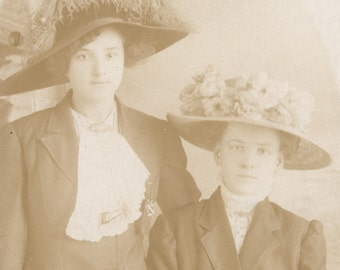 Wonderful LARGE HATS on Two Fashionable Young Ladies Photo Postcard Circa 1908