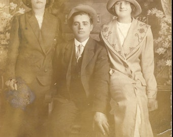 THORN BETWEEN Two ROSES Flapper Women in Hats Photo Postcard Circa 1910s