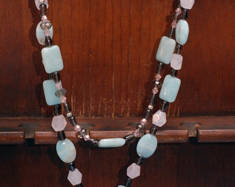 Aquamarine, Rose Quartz, Smoky Quartz, Swarovski necklace set    Pastel Healing
