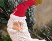Christmas Ornament - Santa Head - Moon Shape