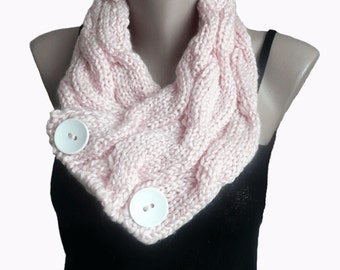 Knit Pink Cowl Scarf  Neckwarmer,  Winter Accessories, Fall Fashion, For her