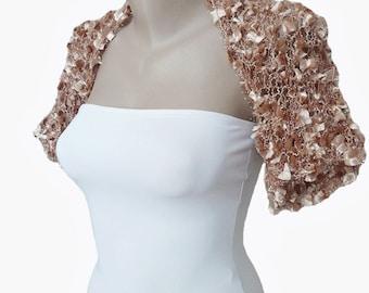 Knit Champagne Bolero Shrug Sleeves, Wedding Bolero, Size M-L, Weddings, Bridal, Bridesmaid, Women, For her, Bridal Cover up, Jacket