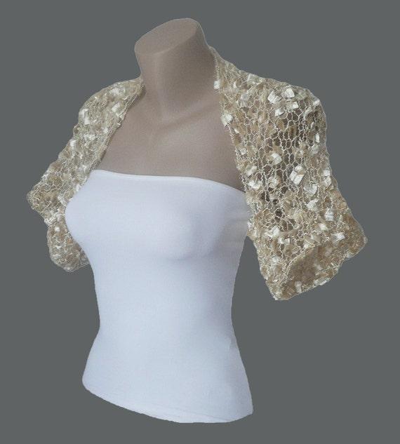 Knitted  Light Champagne Bolero, Wedding Bolero, Wedding Shrug Sleeves Wrap, Weddings Bridal Bridesmaid Women