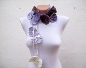 Flower crochet Scarf,Crochet Scarf,Flower Lariat Scarf,Necklace, women scarf