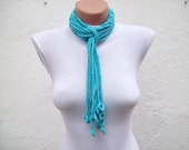 Lariat Scarf,Blue Turquoise,Crochet Scarf,Crochet Necklace