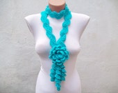 Long Necklace, Crochet Scarves, Lariat Scarf, Flower Lariat Jewelry, Crocheted Necklace, Woman Floral Accessories, Blue Turquoise