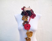 Multicolor Scarf,Crochet Scarf,Lariat Scarf,Flower Scarf