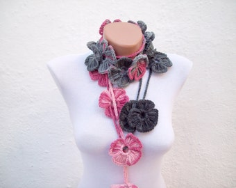 Handmade crochet Lariat Scarf Pink Gray Black Flower Lariat Scarf Colorful Variegated Long Necklace Winter Fashion women scarf mothers day