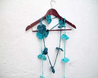 Scarf, Crochet Lariat  Scarves, Flower Accessories, Variegated, Long Necklace, Crocheted Jewelery, Women Floral Skinny, Turquoise Teal Blue