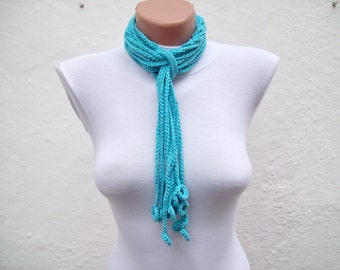 Lariat Scarf, Crochet Scarves, Cotton Crocheted Jewelry, Crochet Necklace, Women Accessories, Blue Turquoise,