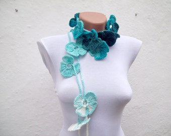 Flower Skinny Scarf, Crochet Necklace, Lariat Scarf, Floral Scarves, Crocheted Accessories, Long Jewelry, Woman, Blue Turquoise White