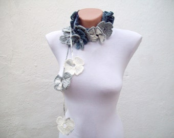 Scarf,Crochet Lariat,Flower Scarf,Variegated,Long Necklace
