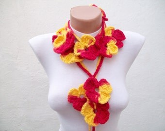 Red Yellow Flower Lariat Scarf,Crochet Scarf,Lariat Scarf,Necklace