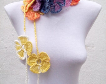 Crochet Scarf, Lariat Scarf, Rainbow Long Scarf, Flower Necklace