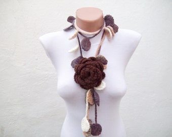 Crochet Scarf, Brown Cream, Flower Leaf Lariat Scarf, Brooch Pin, Leaves Scarves, Floral Accessories, Crocheted Jewelry, Long Necklace