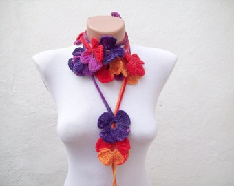 Colorful Crochet Scarf, Lariat Scarves, Flower Belt, Crocheted Long Jewelry, Floral Accessories, Purple Red Orange Yellow, Woman Fashion
