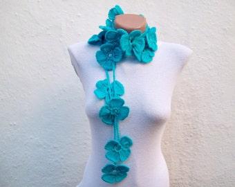 Flower Scarf, Crochet Lariat Scarf, Crochet Scarf, Belt, Crocheted Necklace, Women Accessories, Blue