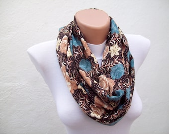 Autumn infinity scarf, Flower Print Loop Scarves, Fabric Women Accessories, Circle scarf,Fall Necklace, Tube Neckwarmer, Brown, Cream, Blue