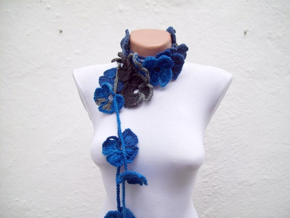 Handmade crochet Lariat Scarf Navy Blue Blue Black Gray   Flower Lariat Scarf Colorful Variegated Long Necklace Winter Fashion christmas