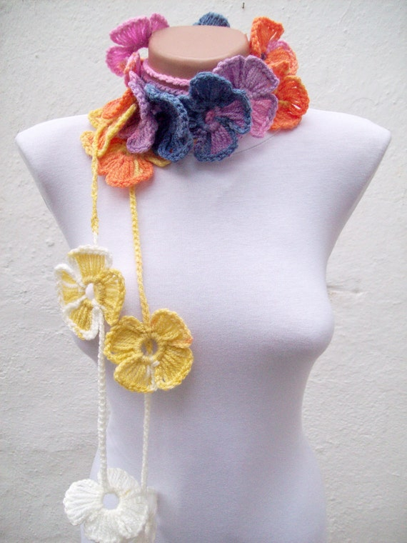 Handmade crochet Lariat Scarf  Yellow Lilac Blue Orange White Flower Colorful Long Necklace Winter Fashion women scarf mothers day