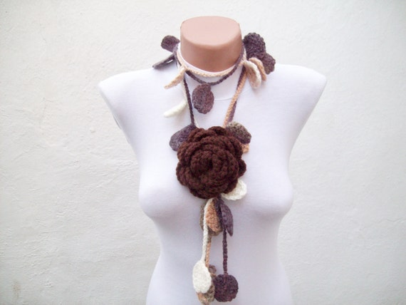 Removeable Brooch Pin  Hand crochet Lariat Scarf  Brown Cream Flower Lariat Scarf Colorful Variegated Winter Fashion women scarf mothers day