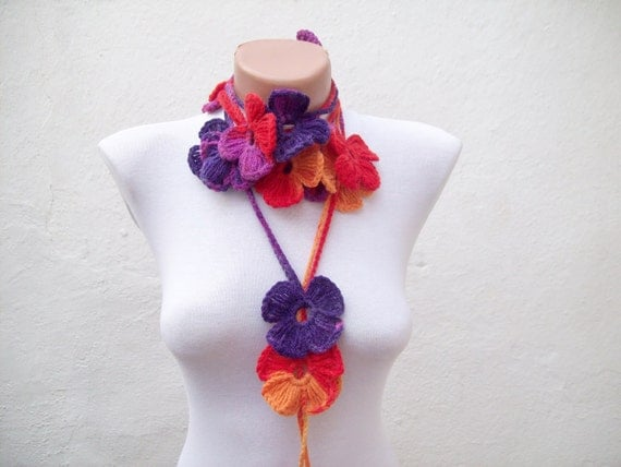 Handmade crochet Lariat Scarf Purple Red Orange Yellow Flower Lariat Scarf Colorful Variegated Long Necklace Winter Fashion mothers day