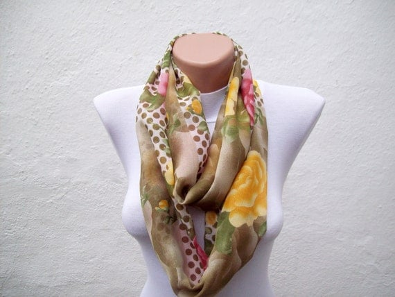 Fall fashion accessories, Floral Print infinity Scarf, Loop Scarves, Autumn Color, Fabric Cotton Necklace, Neckwarmer, Green, Pink, Cream
