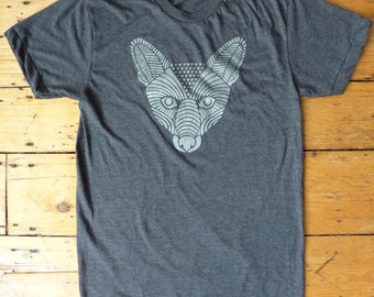 Silver Fox on Heather Gray T-Shirt Mens/Unisex