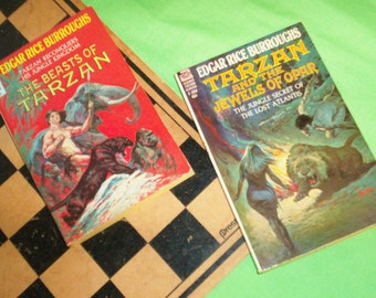 EDGAR RICE BURROUGHS 2 Vintage Science Fiction Books Novels - Tarzan and the Jewels of Opar, The Beasts of Tarzan