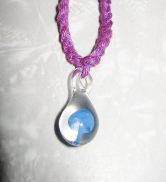MUSHROOM HEMP NECKLACE Blue and Purple Hemp Yarn Glass Pendant Shroom