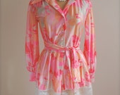 NEON & PASTEL PARTY Dress with Lace. c. 1970's.