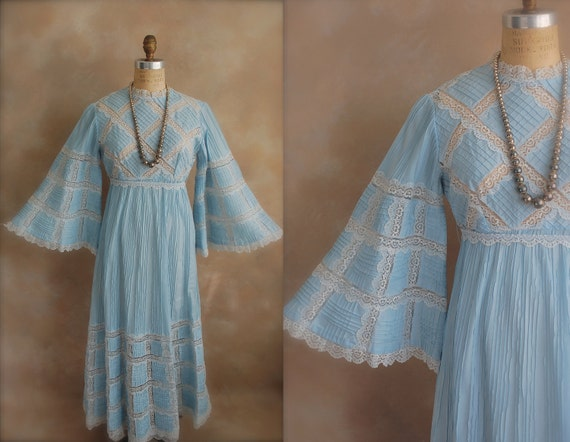 POWDER BLUE MEXICAN Wedding Dress with Lace. c. 1960s.