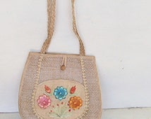 50s 60s Vintage Large Straw Flower Purse Embroidered Raffia Straw Beach Bag Shopping Tote
