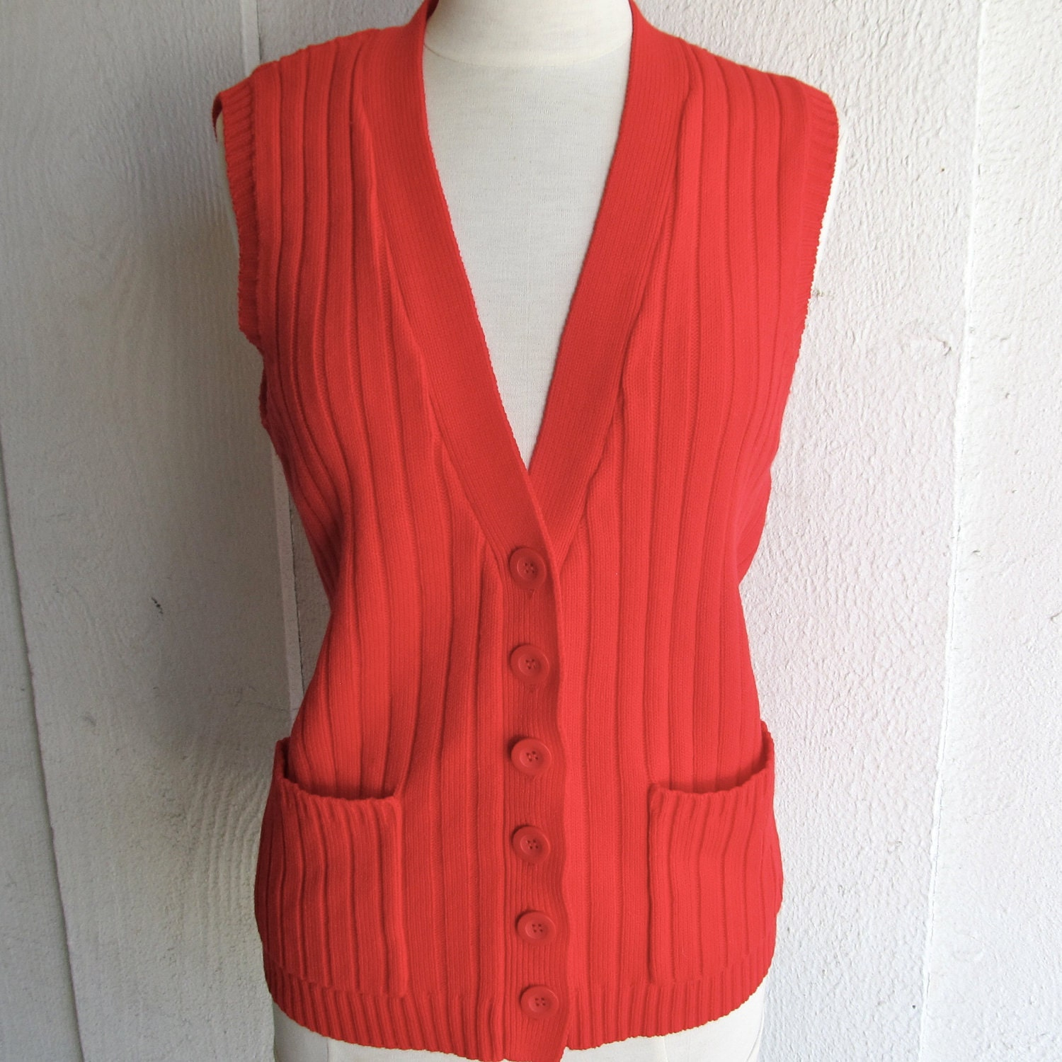 Knitting Pattern Womens Vest : Red Vintage Button Up Sweater Vest Long Knit Womens