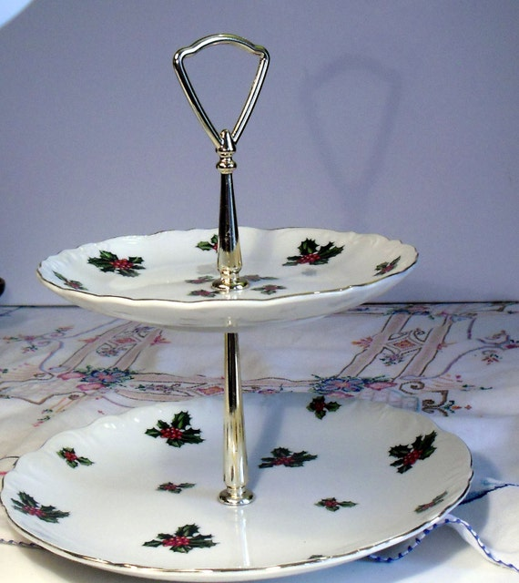 Vintage Christmas Decor, Lefton China Holly Berry tid bit, cookie plate, hostess dish, two tier serving plate, mid century housewares