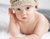 Baby Boy Hat  Infant Newsboy Hat Cap Handmade Crochet Hat Baby Photo Prop