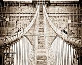 Brooklyn Bridge in Sepia Tone - 8 x 11.5 Art Photograph - Multiple Sizes Available