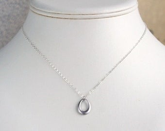 Silver drop necklace, dainty teardrop necklace, small charm pendant, sterling chain, simple minimalist everyday jewelry, gift, by balance9