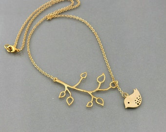 Bird Branch Necklace, Gold Lariat, tree branch dove charm pendant, delicate everyday jewelry, holidays gift, by balance9