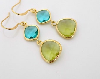 Crystal Earrings, blue green crystal earrings, Peridot, Aqua, delicate drop dangle, Gold framed crystal, gift, everyday jewelry, by balance9