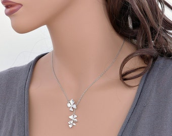 Wild orchid necklace, silver flower necklace lariat, dainty flowers 1&2, bridesmaid gifts, wedding gift, Everyday jewelry, by balance9