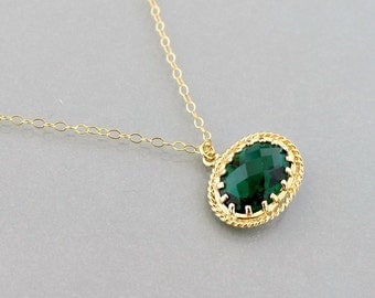 Emerald Gold Necklace, framed glass crystal bezel pendant, green, 14k gold filled chain, delicate everyday jewelry, by balance9