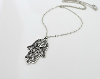 Hamsa Hand Necklace, gift, Antique silver charm pendant necklace, Fatima, amulet jewelry, lucky gift, by balance9
