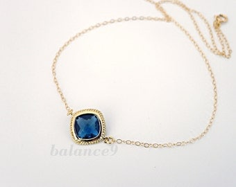 Montana blue necklace, framed glass crystal bezel pendant, 14k gold filled chain, delicate everyday jewelry, , by balance9