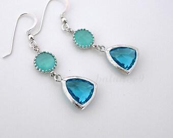 Blue crystal earrings, dangle earrings, delicate mint aqua crystal drop, sterling silver ear wire, everyday jewelry, gift, by balance9