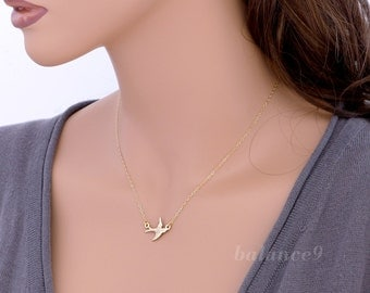 Flying bird necklace, Sparrow charm pendant, 14k gold filled chain, delicate everyday jewelry, by balance9