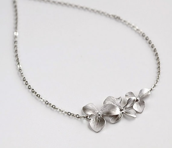 Silver Orchid Necklace, Trio Flowers necklace, bride bridal wedding jewelry, by balance9