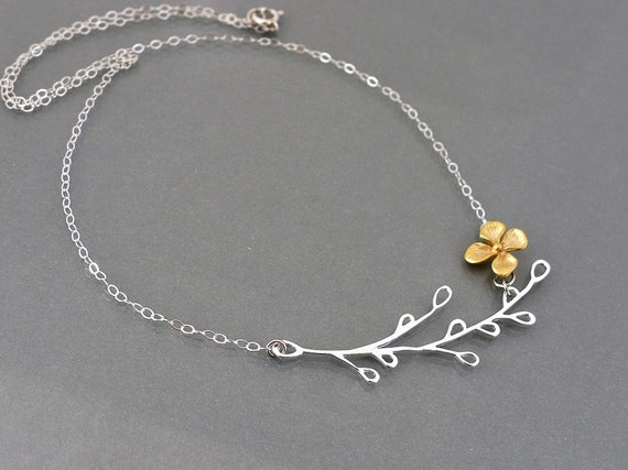 Branch Necklace, sterling silver branch charm pendant, delicate gold flower, mod gift jewelry, by balance9