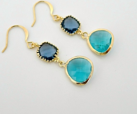 Montana Zircon Earrings, gold framed glass crystal drop dangle, delicate blue earring, holidays gift jewelry, by balance9