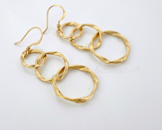 Circle drop earrings, twisted rings dangle earrings, delicate circles, gold filled ear wire, everyday jewelry, holidays gift, by balance9